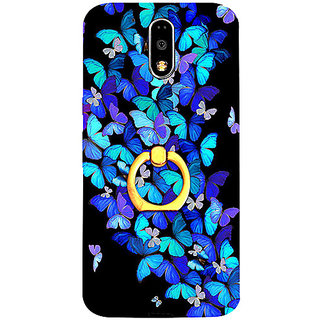 Casotec Butterfly pattern Design 3D Printed Hard Back Case Cover with Metal Ring Kickstand for Motorola Moto G4 Plus