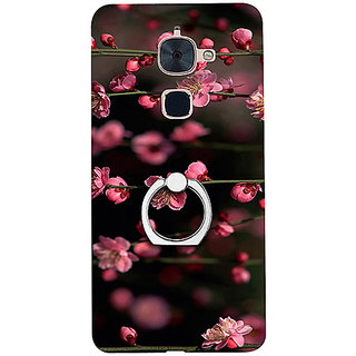 Casotec Pink Flowers Design 3D Printed Hard Back Case Cover with Metal Ring Kickstand for LeTV Le 2