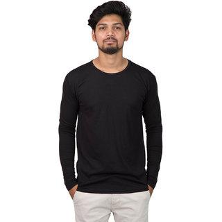 Men's Solid Black Round Neck, Full slevee Tshirt