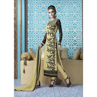 Ladyview Cream  Black Embroidered Georgette Straight Suit