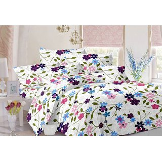 Valtellina Floral Design White Colour Cotton Double Bed Sheet with 2 Pillow Cover - TC-141