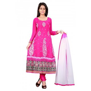 Aaina Pink Georgette Dress Material (SB-2485-OCT)