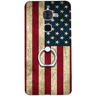 Casotec Vingate USA Flag Design 3D Printed Hard Back Case Cover with Metal Ring Kickstand for LeTV Le 2