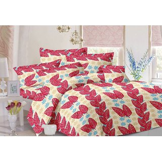 Valtellina Leafy Design Red Colour Cotton Double Bed Sheet with 2 Pillow Cover - TC-140