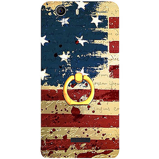 Casotec USA Flag Design 3D Printed Hard Back Case Cover with Metal Ring Kickstand for Micromax Canvas Nitro 2 E311