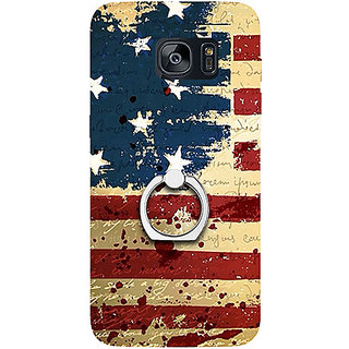 Casotec USA Flag Design 3D Printed Hard Back Case Cover with Metal Ring Kickstand for Samsung Galaxy S7 Edge