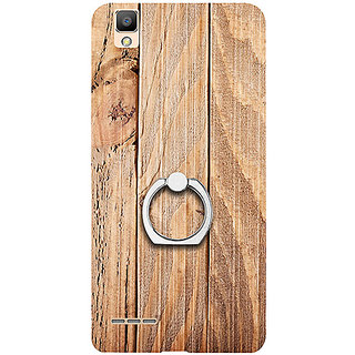 Casotec Wooden Texture Design 3D Printed Hard Back Case Cover with Metal Ring Kickstand for Oppo F1