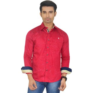 Big Brother Maroon Button Down Full sleeves Casual Shirt For Men
