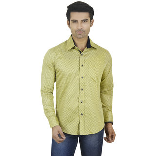 Big Brother Yellow Button Down Full sleeves Casual Shirt For Men