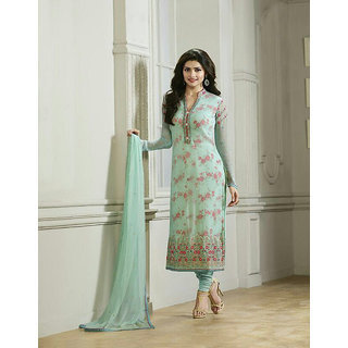 Ladyview Light Aqua  Pink Embroidered Pure Chiffon Straight Suit