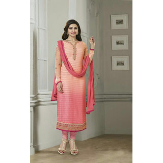 Ladyview Peach  Pink Embroidered Pure Chiffon Straight Suit