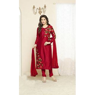 Ladyview Red  Multi Embroidered Glace Jama Cotton Straight Suit