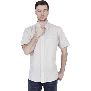 Lotus Off White Button Down Half Sleeve  Casual Shirts For Men