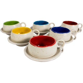 Indian Art Ceramic Off White Multi-colour Ceramic Cup  Saucer Set