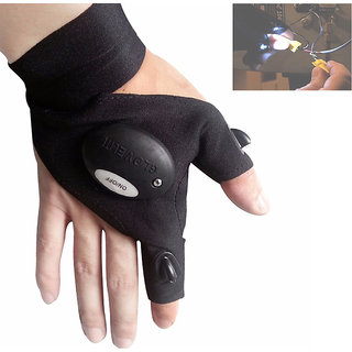 Futaba Fishing Strap Fingerless Led Glove Flashlight Torch