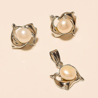 PEARL GEMSTONE 925 STERLING SILVER PENDANT WITH EARRING