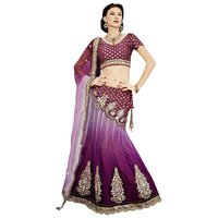 Triveni Spectacular Net Wedding Wear Designed Lehenga Choli (Purple)