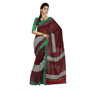 Triveni Maroon Silk Printed Saree With Blouse