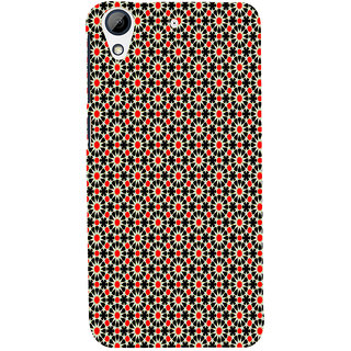 ifasho Animated Pattern design black and red flower in white background Back Case Cover for HTC Desire 626