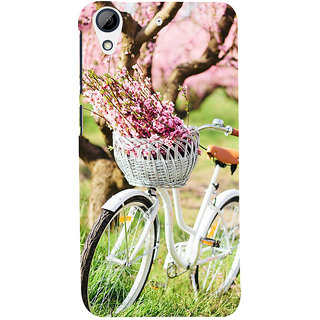 ifasho Cycle in a park with flowers and grass Back Case Cover for HTC Desire 626