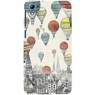 ifasho city with artistic hot air baloon Back Case Cover for HTC Desire 826