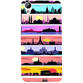 ifasho Modern Art Design Pattern tower temple building Back Case Cover for HTC Desire 728