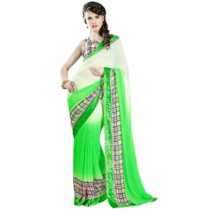 Triveni Green Velvet Lace Saree With Blouse