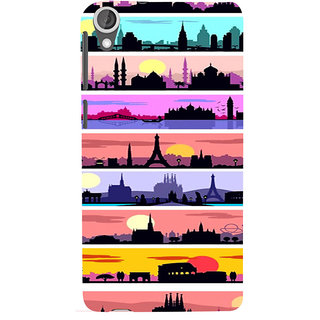 ifasho Modern Art Design Pattern tower temple building Back Case Cover for HTC Desire 820