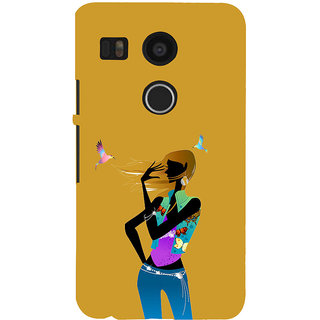ifasho Girl with Bird Back Case Cover for Google Nexus 5X