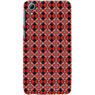 ifasho Animated Pattern small red rose flower with black and red rectangle Back Case Cover for HTC Desire 826