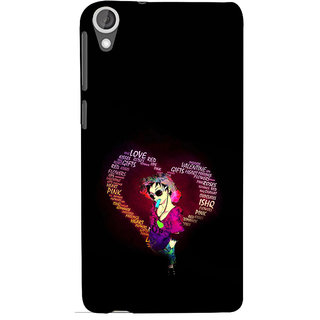 ifasho Animated Pattern With Love and heart and Ishq Back Case Cover for HTC Desire 820