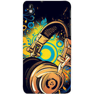 ifasho Modern Art Design Pattern animated Music Ins3Dument head phone Back Case Cover for HTC Desire 816