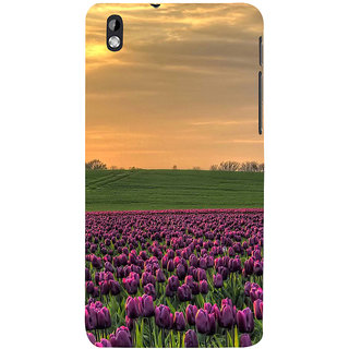 ifasho green Grass and purple flower at sunset Back Case Cover for HTC Desire 816