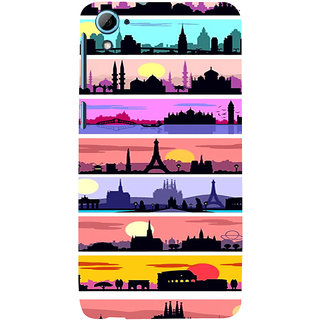 ifasho Modern Art Design Pattern tower temple building Back Case Cover for HTC Desire 828