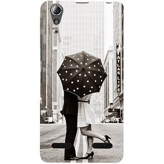 ifasho couple kissing in rain with umbrella Back Case Cover for Lenovo A6000 Plus
