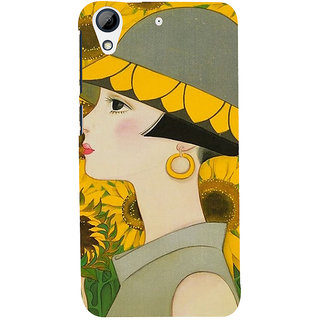 ifasho Painted Girl and flower Back Case Cover for HTC Desire 728