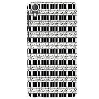 ifasho Animated Pattern design black and white music symbols and lines Back Case Cover for HTC Desire 820
