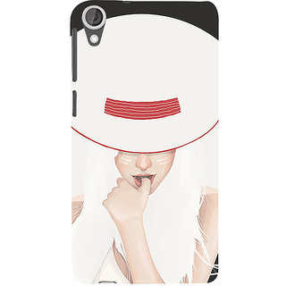 ifasho Gorgeous Winking Girl in white hat Back Case Cover for HTC Desire 820