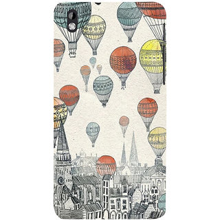 ifasho city with artistic hot air baloon Back Case Cover for HTC Desire 816