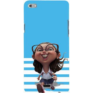 ifasho Cute Girl with Specs running to school cartoon Back Case Cover for Micromax Canvas Sliver 5 Q450