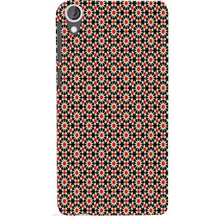 ifasho Animated Pattern design black and red flower in white background Back Case Cover for HTC Desire 820