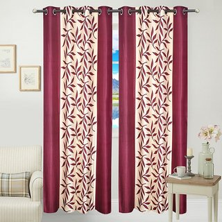 HDecore Mehroon Kolaveri Window Curtains 1 pc 5ft