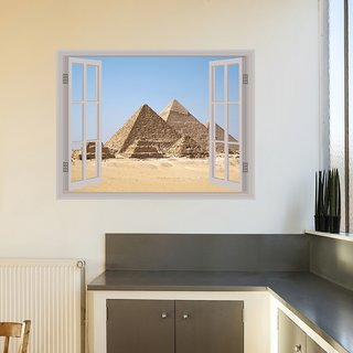 Decor Kafe Pyramid Window Illution Wall Poster