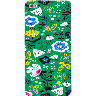 ifasho Animated Pattern colrful design flower with leaves Back Case Cover for Micromax Canvas Sliver 5 Q450