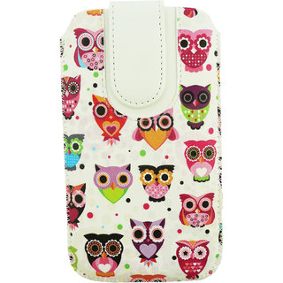 Emartbuy Multi Coloured Owls Print Premium PU Leather Slide in Pouch Case Cover Sleeve Holder ( Size 4XL ) With Pull Tab Mechanism Suitable For Highscreen Power Rage
