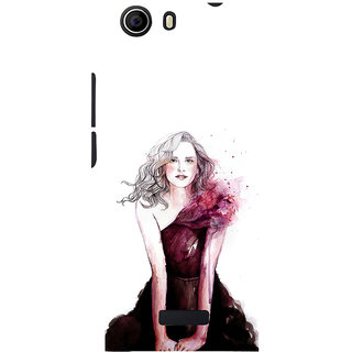 ifasho Cute Winking Girl painting Back Case Cover for Micromax Canvas Nitro 2 E311
