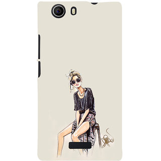 ifasho modern Girl painting Back Case Cover for Micromax Canvas Nitro 2 E311
