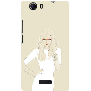 ifasho modern Girl in white dress painting Back Case Cover for Micromax Canvas Nitro 2 E311