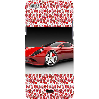 ifasho Stylish RED Car Back Case Cover for Micromax Canvas Sliver 5 Q450