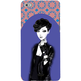 ifasho Girl in Black Jacket Back Case Cover for Micromax Canvas Sliver 5 Q450
